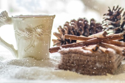 Winter Snow Coffee Cinnamon Tea Pine Cones